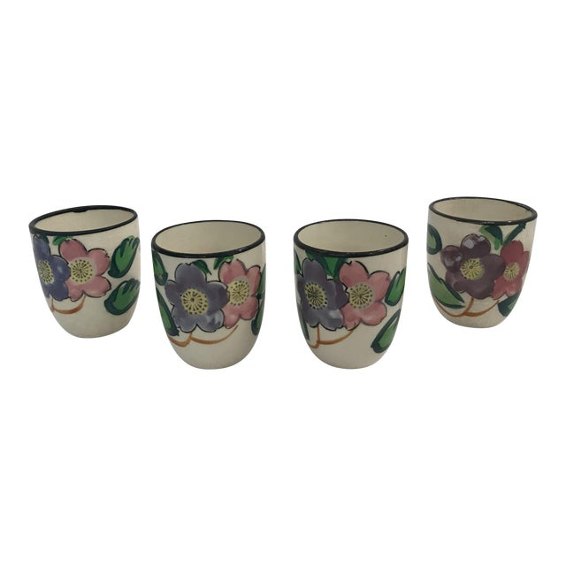 Vintage Hand Painted Japanese Saki Cups - Set of 4