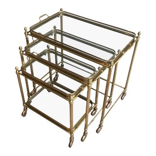 Set of Three Brass Nesting Tables on Casters With Removable Trays