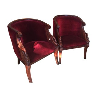 Art Nouveau Mohair Cherry Swan Chairs - A Pair