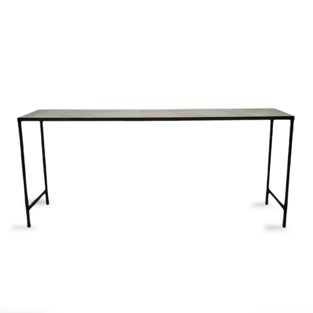 Contemporary Vintage Modern Marble & Iron Console For Sale - Image 3 of 10
