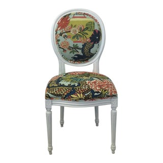 Louis XV Style White Round Back Side Chair- Schumacher Chiang Mai Dragon Fabric