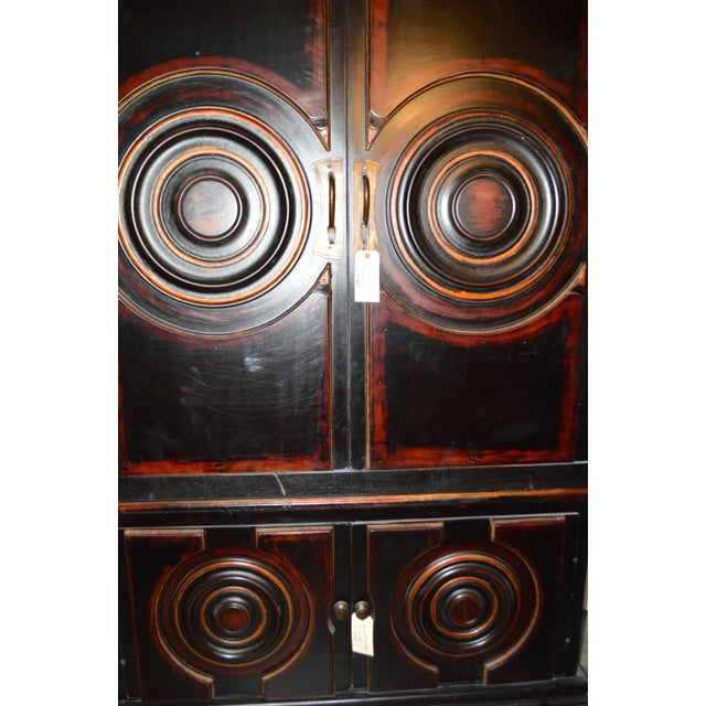 Vintage Circle Motif Wood Armoire - Image 3 of 7