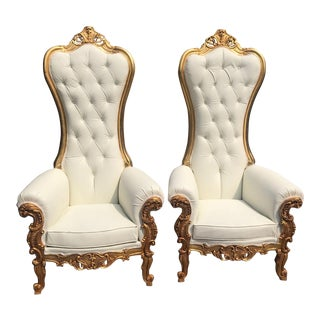 Modern Italian Baroque Style White Tufted Throne Chairs- A Pair For Sale