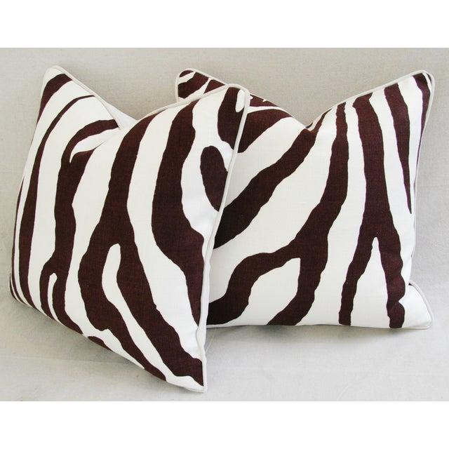 Custom Scalamandre Zebra Linen Pillows - Pair - Image 10 of 11