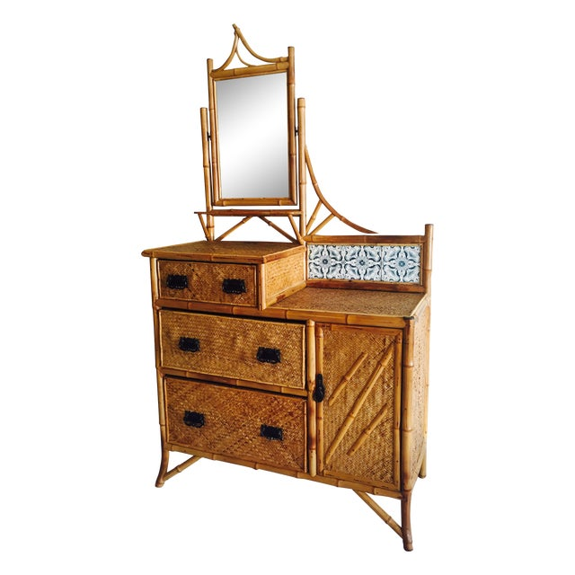 Late Victorian Bamboo Chest-of-Drawers - Image 1 of 5