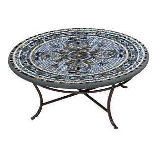 """Roma 36"""" Coffee Table with Black Iron Base For Sale"""