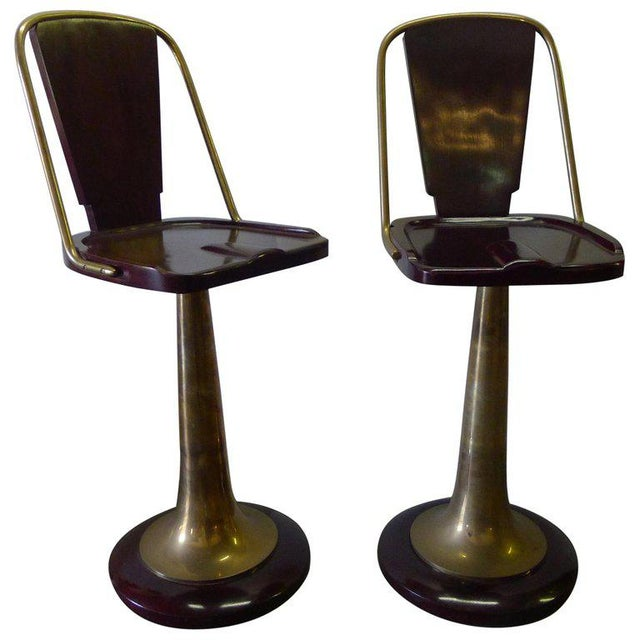 Swivel Yacht Style Bar Stools - a Pair For Sale - Image 11 of 11
