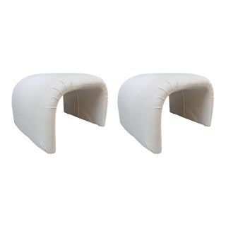 Pair of Linen Waterfall Upholstered Benches For Sale