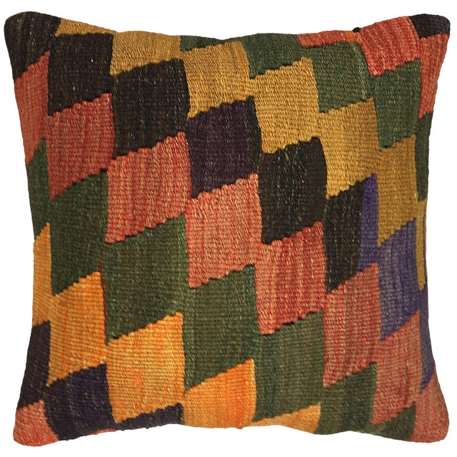 "Earthy Diamond Rug & Relic Kilim Pillow | 16"" For Sale"