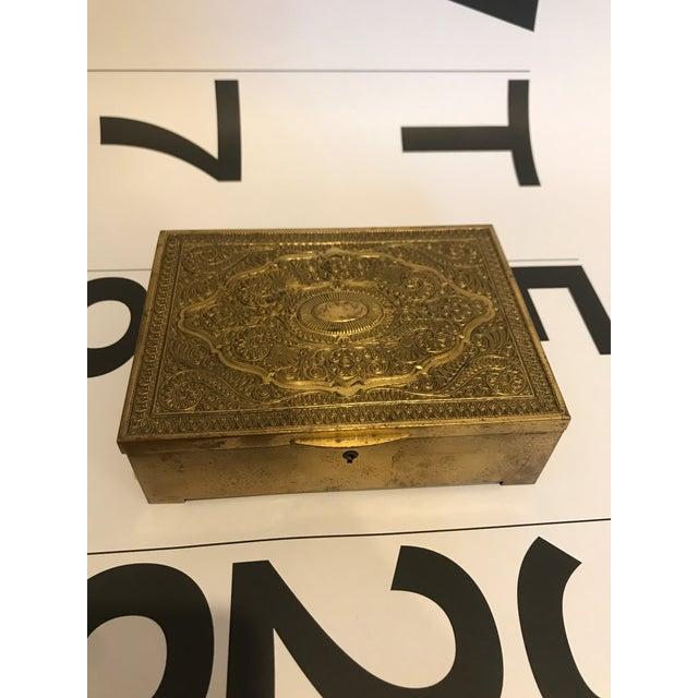 Brass Vintage Brass Clad Trinket/Jewelry Box For Sale - Image 7 of 7