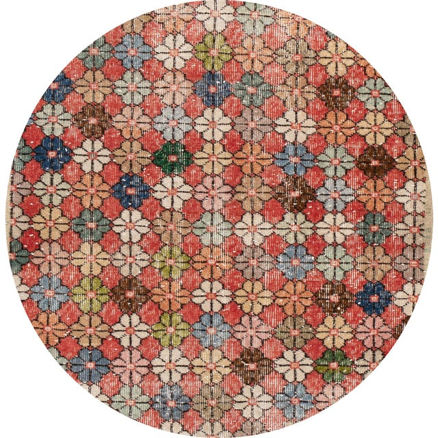 Beautiful Vintage Turkish rug, hand-knotted wool with a multi-color field in a gorgeous all-over geometric design. This...