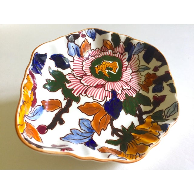 Gien France Rare Vintage 1985 Faience Ruffle Edge Small Hand Painted Floral Ceramic Dish For Sale - Image 9 of 13