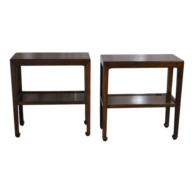 Chinese Elm Wood Side Table With Shelf - a Pair For Sale
