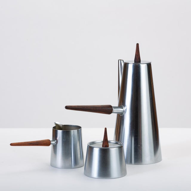 Italian Modern Coffee or Tea Service With Rosewood Handles For Sale - Image 4 of 13