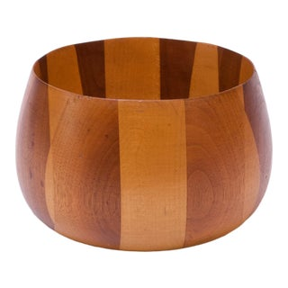 Vintage Studio Craft Mixed-Wood Decorative Bowl For Sale