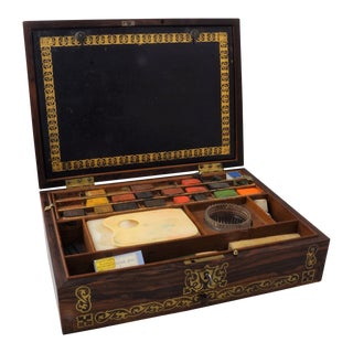 19th Century Victorian Style English Brass Inlaid Rosewood Artist Box For Sale