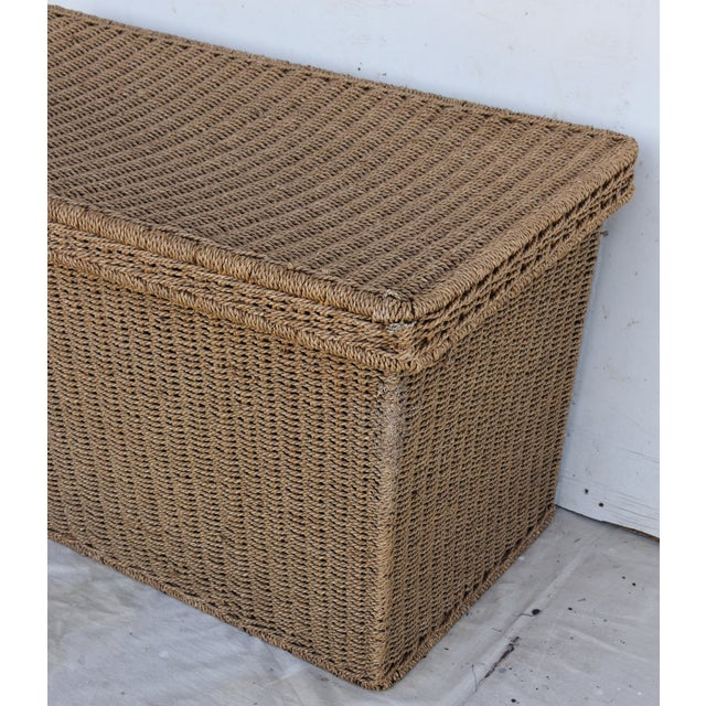 Vintage Natural Hand Woven Seagrass TrunkCoffee Table Chairish - Woven trunk coffee table