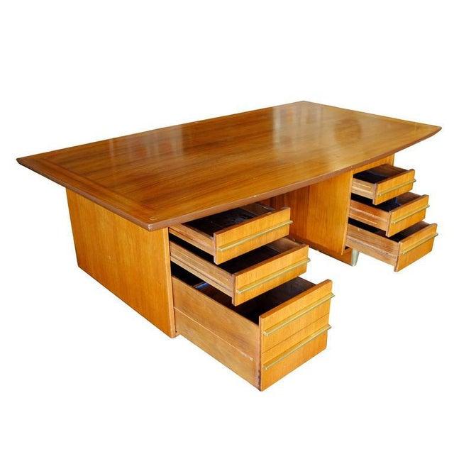 Mid-Century Mahogany Executive Desk With Brass Pulls - Image 5 of 10