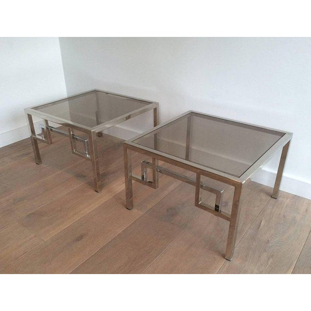 Pair of Chrome Side Tables With Greek Key Design, French, Circa 1970 - Image 9 of 11
