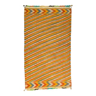 Tribal Blue and Yellow Chevron Pattern Rajasthani Indian Dhurrie Rug For Sale