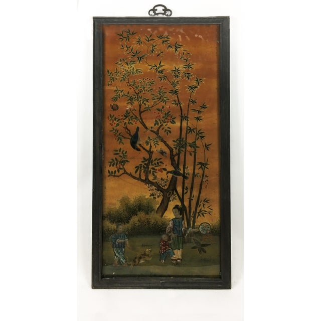 Early 21st Century Chinese Scroll Painting Panel in Original Frame For Sale - Image 5 of 5
