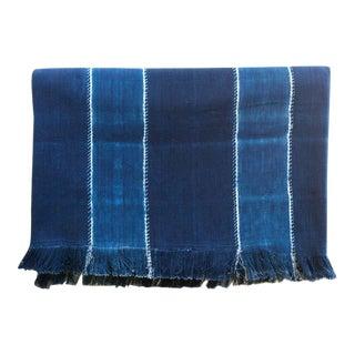 Tensira Wide Stripe Indigo Cotton Throw Blanket