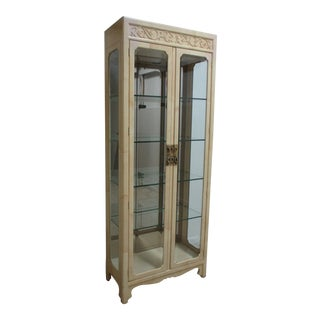 Vintage Campaign Henredon Faux Goatskin Curio Display Cabinet For Sale