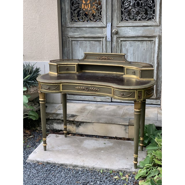 Olive Antique Painted French Writing Desk With Parcel Gilt and a Leather Top For Sale - Image 8 of 11