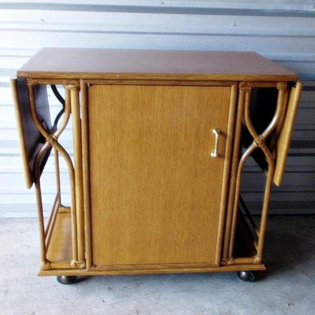 Vintage McGuire Rattan Drop Leaf Dry Bar/Bar Cart For Sale - Image 10 of 10