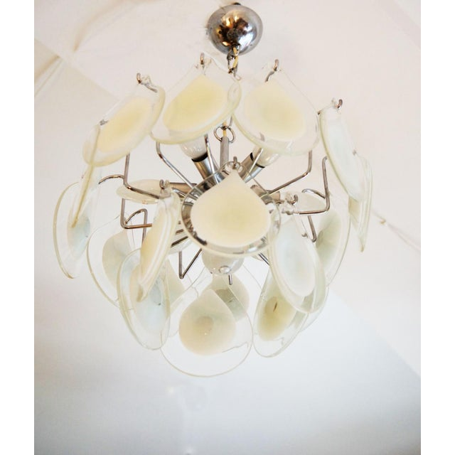 White Art glass chandelier by Gino Vistosi for Venini For Sale - Image 8 of 11