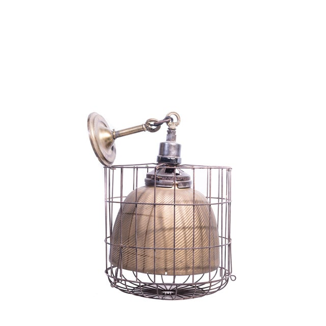 1920s Industrial Gold Mercury Glass Caged Ceiling Pendant Lamp For Sale - Image 4 of 8