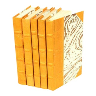 Parchment Collection Mustard Yellow Books - Set of 5 For Sale