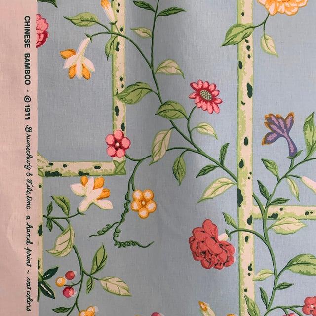 Brunschwig & Fils Vintage 1977 Brunschwig & Fils Sky Blue Chinese Bamboo Chintz Fabric- 2 Yards For Sale - Image 4 of 11