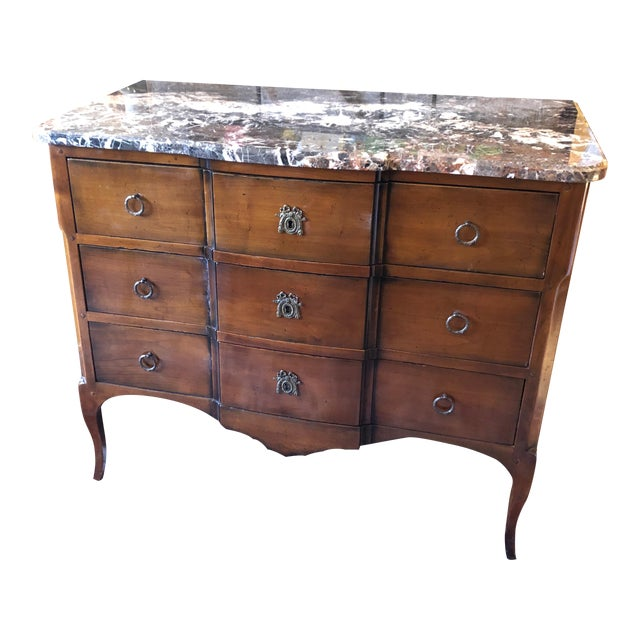 1980s Vintage French Heritage Mahogany and Marble Commode For Sale