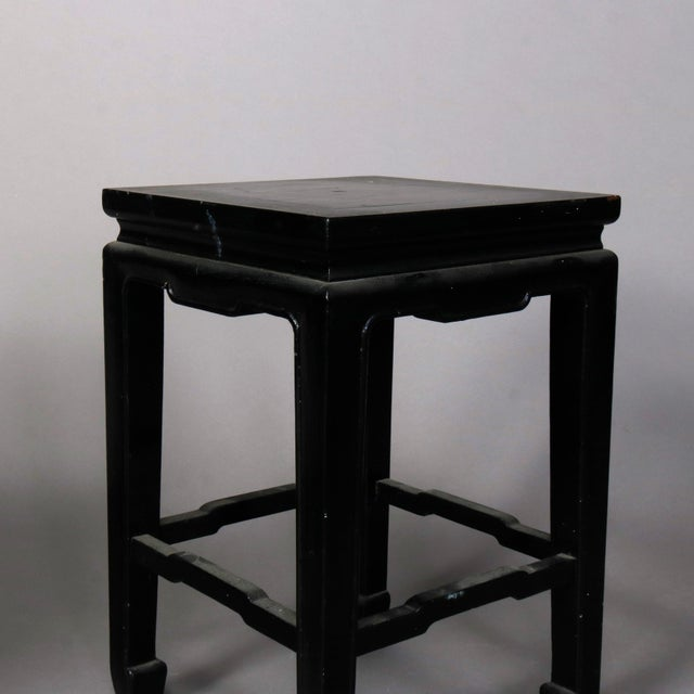 Vintage Black Lacquered Chinese Side Stands, 20th Century - Set of 4 For Sale - Image 4 of 13