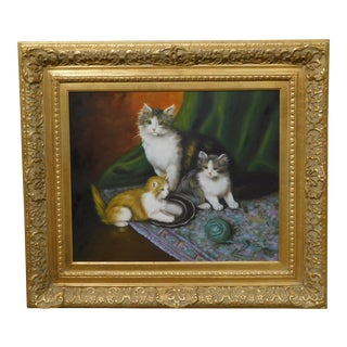 Thomas Blinks Painting Cat and Kittens Oil on Canvas Custom Frame For Sale