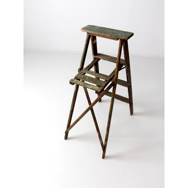 Mid 20th Century Vintage Green Wood Ladder For Sale - Image 5 of 9