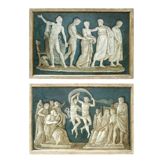 Late 18th Century Large Italian Neoclassical Grisaille Paintings - A Pair For Sale