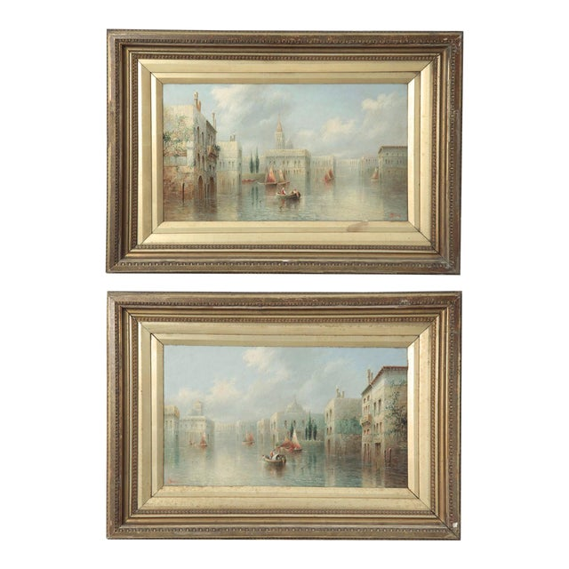 British Grand Canal Venice Antique Oil Paintings by James Salt - a Pair For Sale