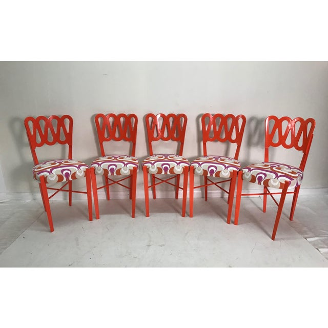 Orange Newly Lacquered Dining Chairs - Set of 5 For Sale - Image 8 of 8