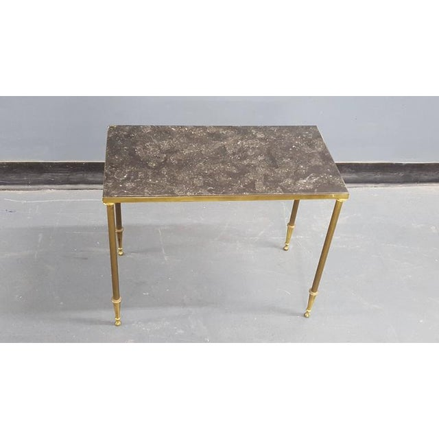 Set of Louis XVI Style Marble-Top Bronze Nesting Tables For Sale - Image 4 of 6