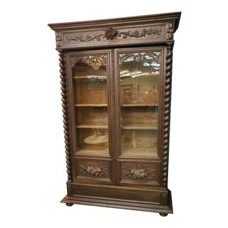 19th Century French Barley Twist Bookcase For Sale