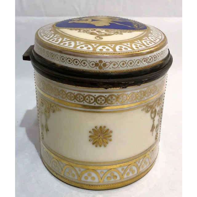 Antique Dresden Porcelain Box With Silver Interior, Circa 1891-1901 For Sale - Image 4 of 5
