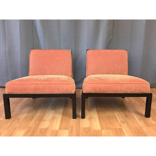 Lacquer Michael Taylor for Baker Far East Collection Slipper Chairs - A Pair For Sale - Image 7 of 13
