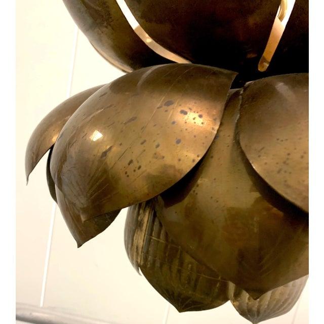1970s 1970s Large Brass Lotus Pendant Light by Feldman For Sale - Image 5 of 9