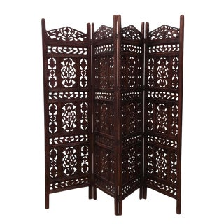 Walnut Stain Moorish Folding Screen For Sale