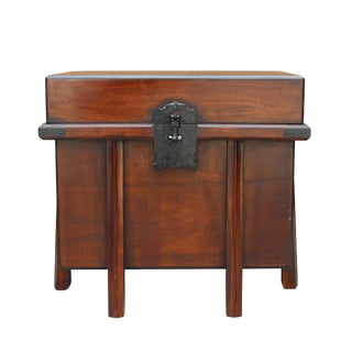 Asian Brown Stain Korean Japanese Style Trunk Storage Chest Table For Sale