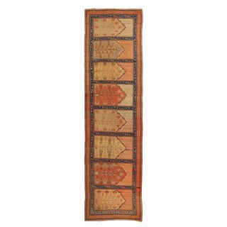 Antique Khotan Pink and Blue Wool Runner - 3′4″ × 13′9″ For Sale