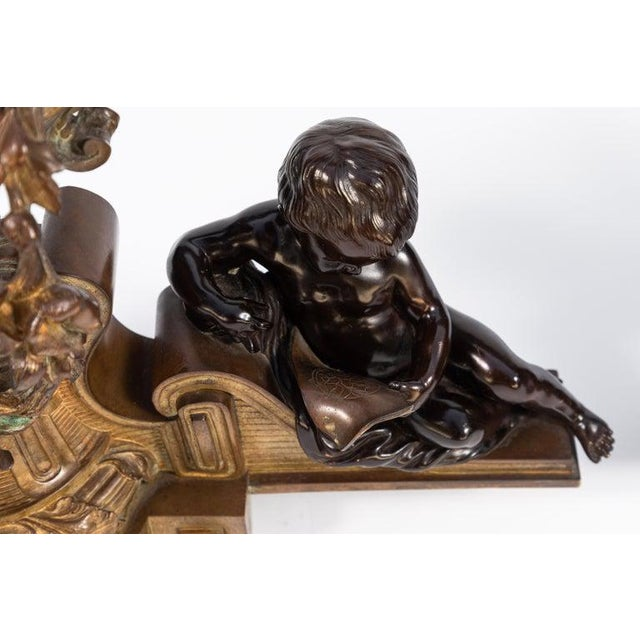 19th Century French Bronze Chenets - a Pair For Sale In Los Angeles - Image 6 of 12
