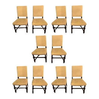 English Tudor Jacobean Style Dining or Side Chairs - Set of 10